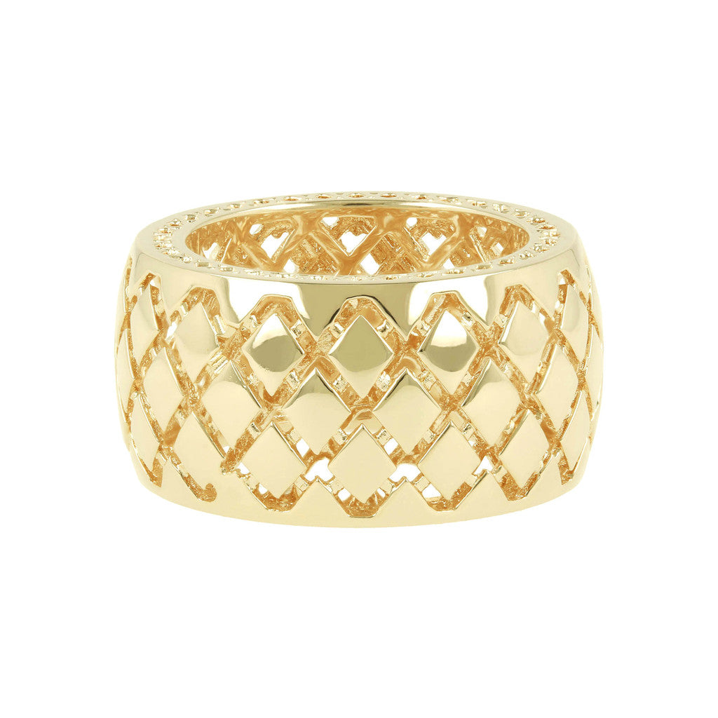 PUREZZA BRONZALLURE GOLDEN CHECKERED PATTERN BAND RING - WSBZ00452Y setting