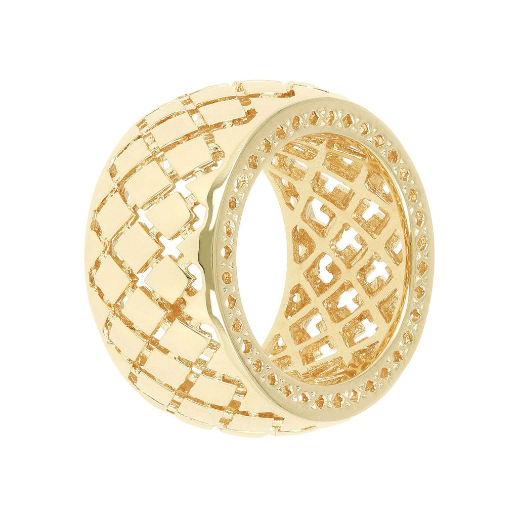 PUREZZA BRONZALLURE GOLDEN CHECKERED PATTERN BAND RING - WSBZ00452Y