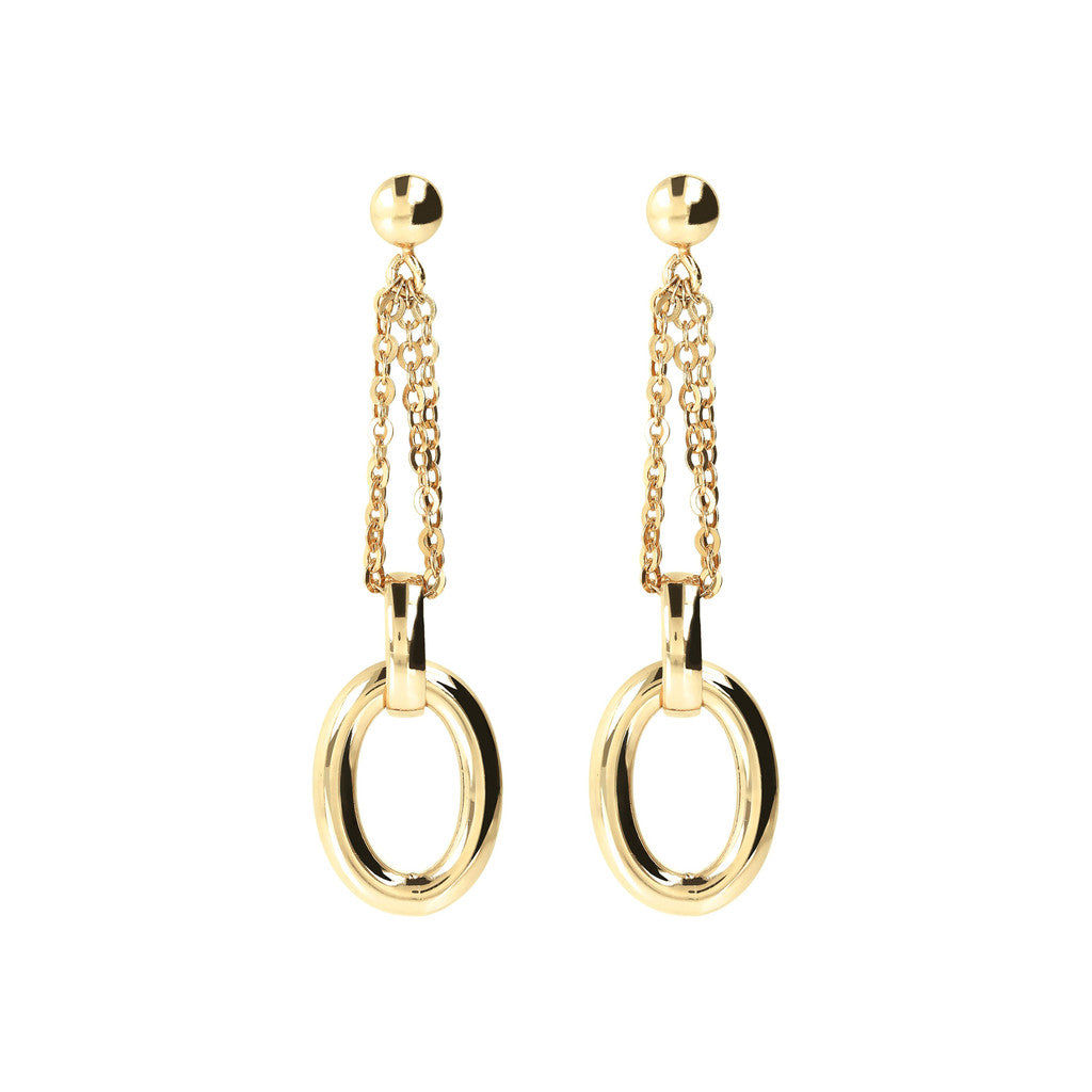 PUREZZA BRONZALLURE GOLDEN DANGLE EARRING WITH MULTISTRANDS FORZATINA AND OVAL ELEMENTS - WSBZ01084Y