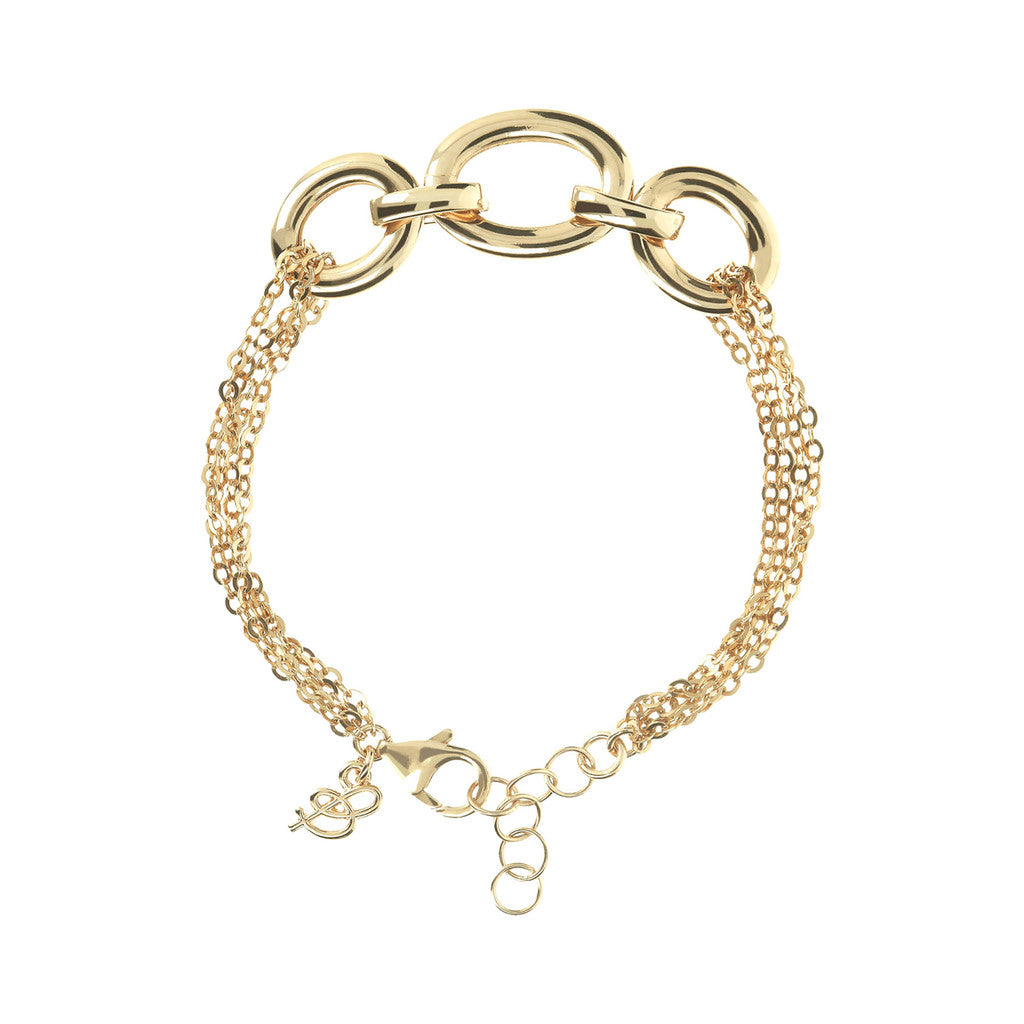 Triple Circle Moon Bracelet Yellow Gold