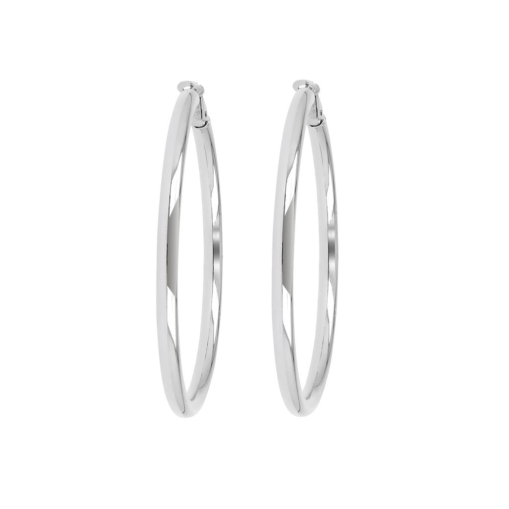 Bronzallure | Earrings | PUREZZA BRONZALLURE  WHITE GOLD  SHINY OMEGA BACK HOOP EARRINGS - WSBZ00310W
