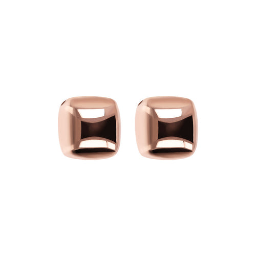 Bronzallure | Earrings | Polished Square Golden Rosé Stud Earrings