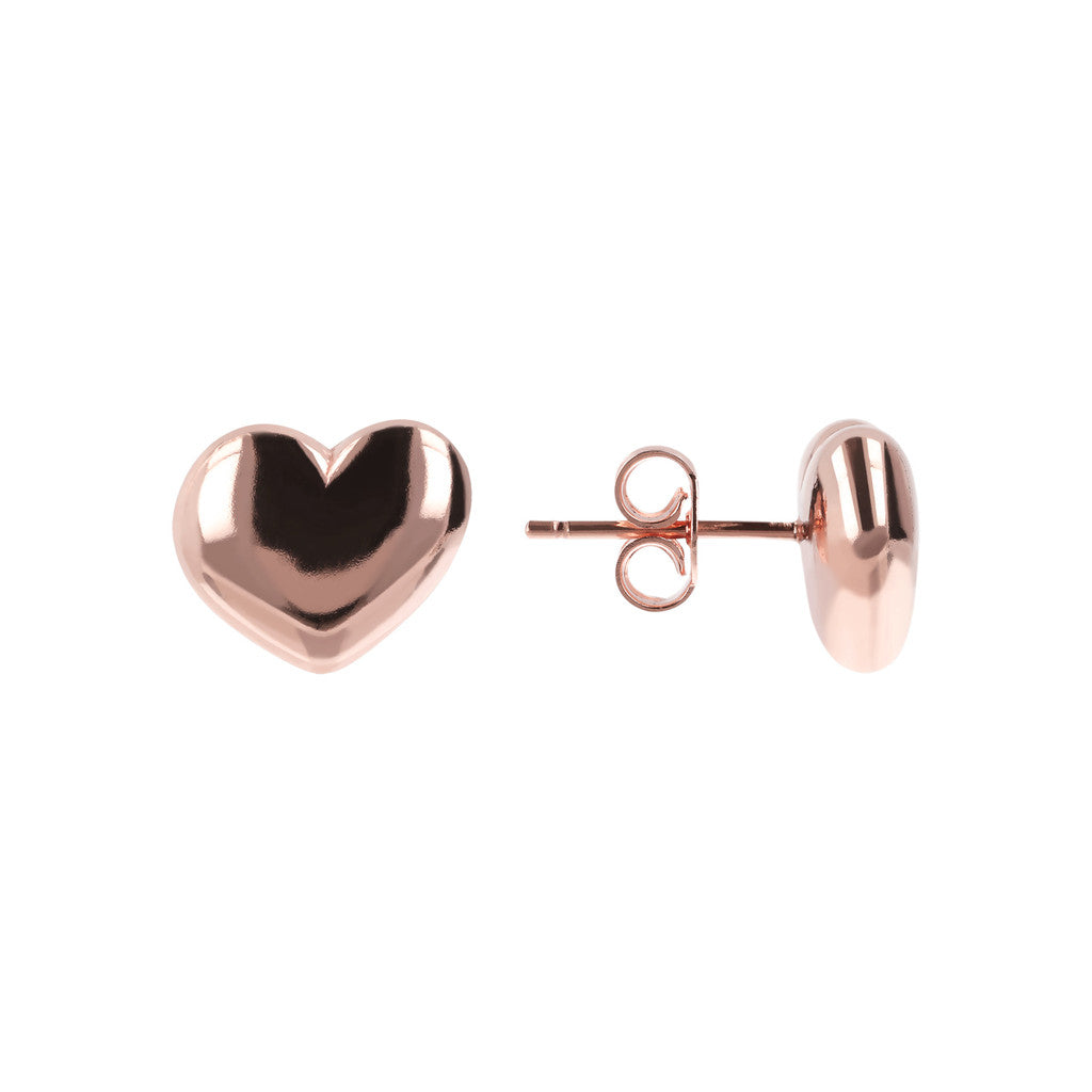 Love heart earrings front and side