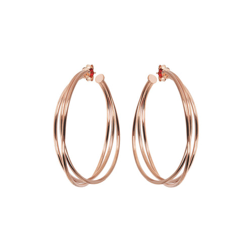 Bronzallure | Earrings | Triple Golden Rosé Hoop Earrings