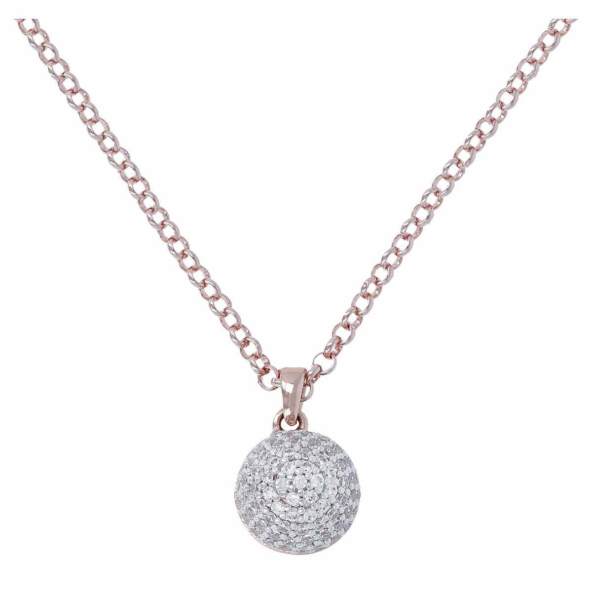 Ball chain necklace CUBIC ZIRCONIA