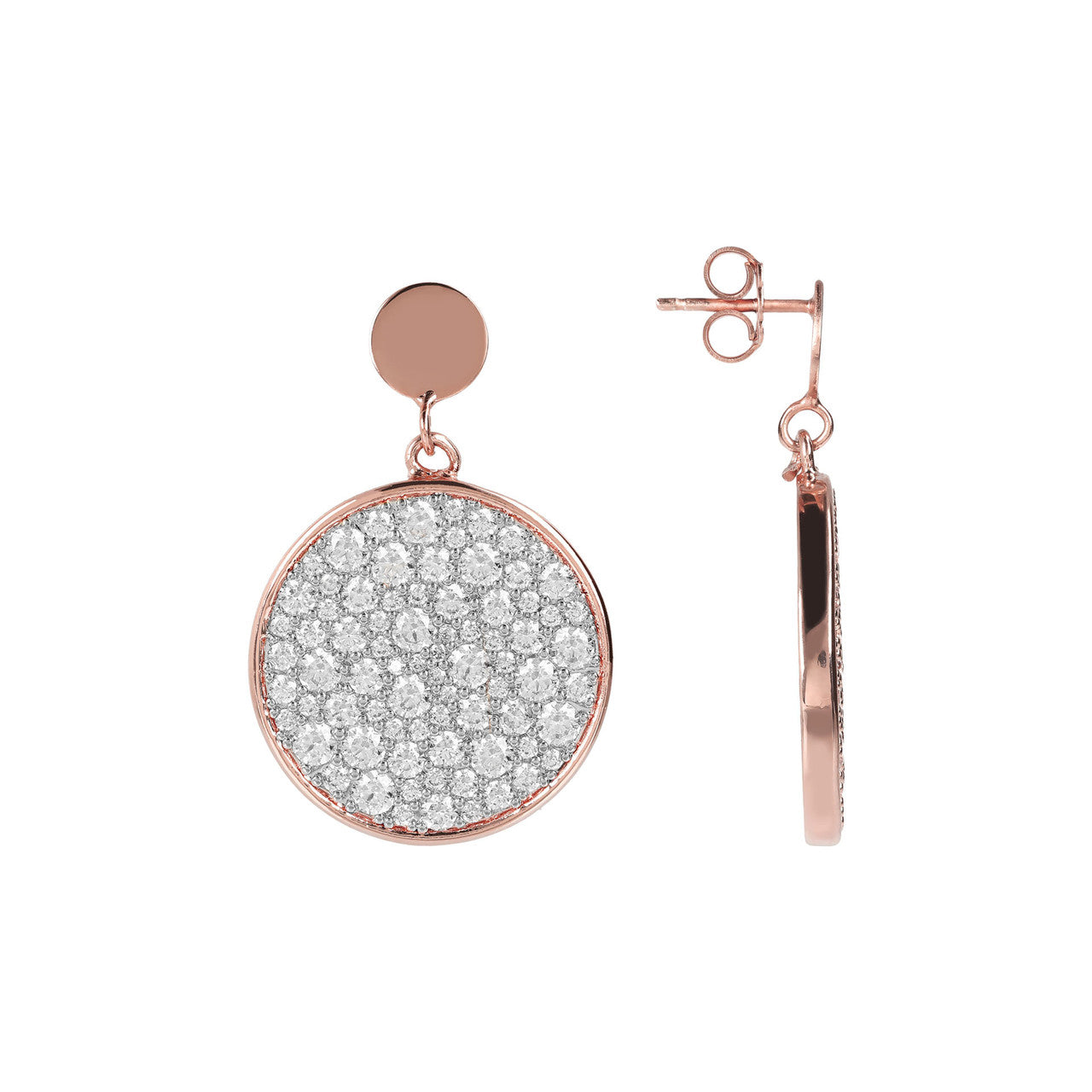 Pave Disc Earrings CUBIC ZIRCONIA front and side