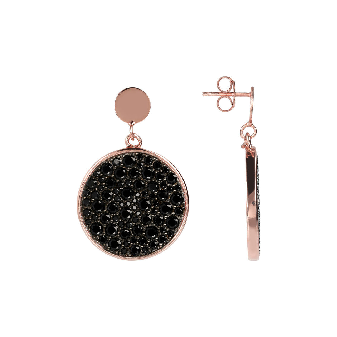 Pave Disc Earrings front and side