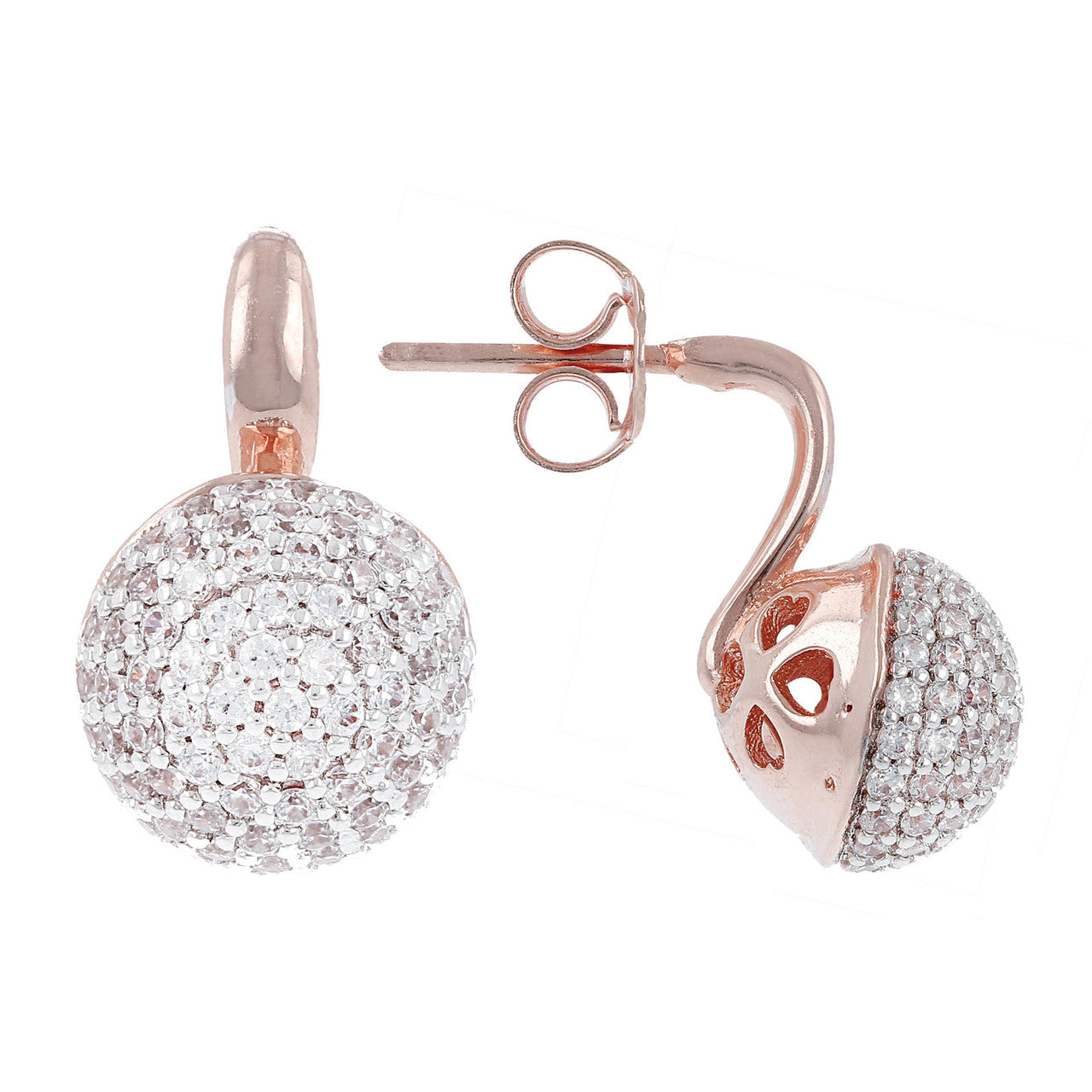 Pave Stud Earrings front and side