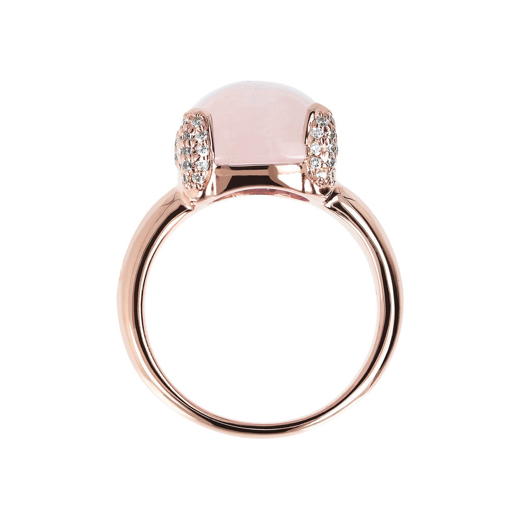 Pave cocktail ring ROSE QUARTZ setting