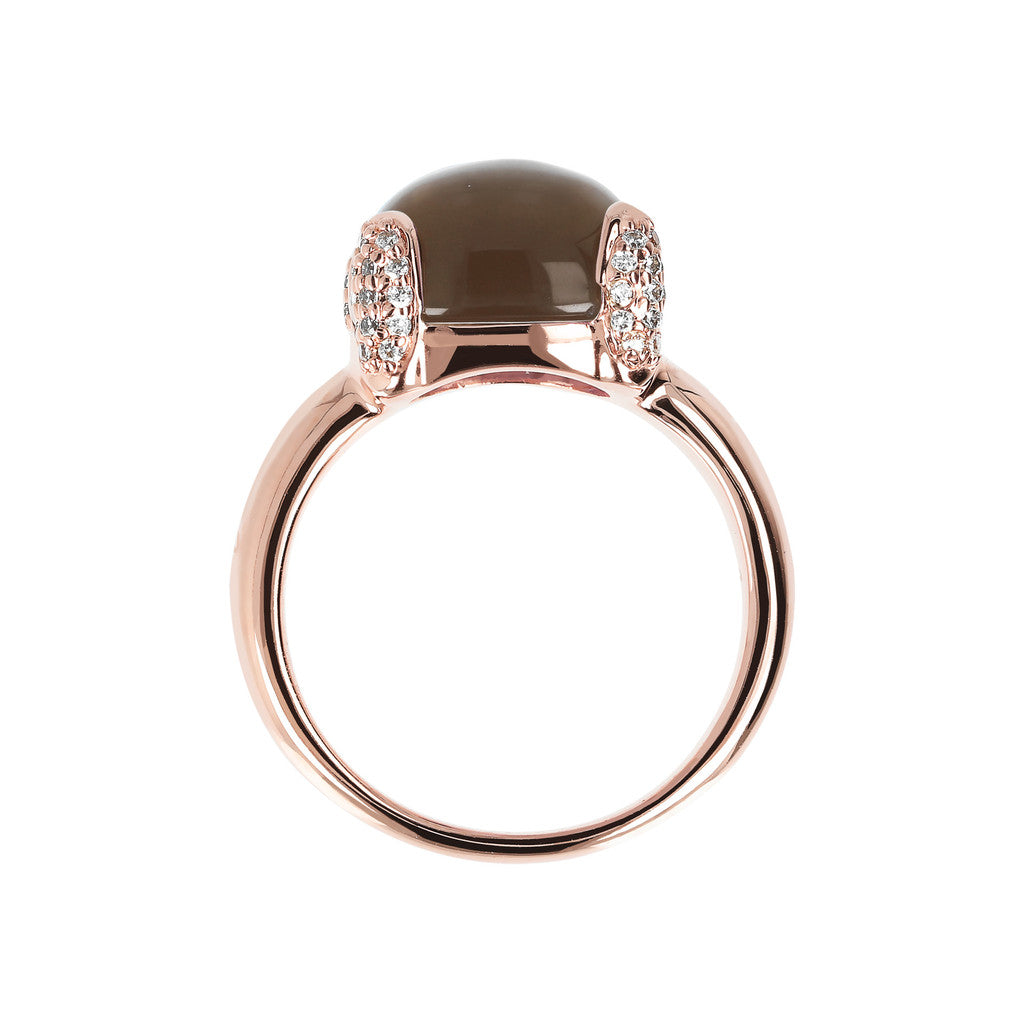 Pave cocktail ring SMOKY QUARTZ setting