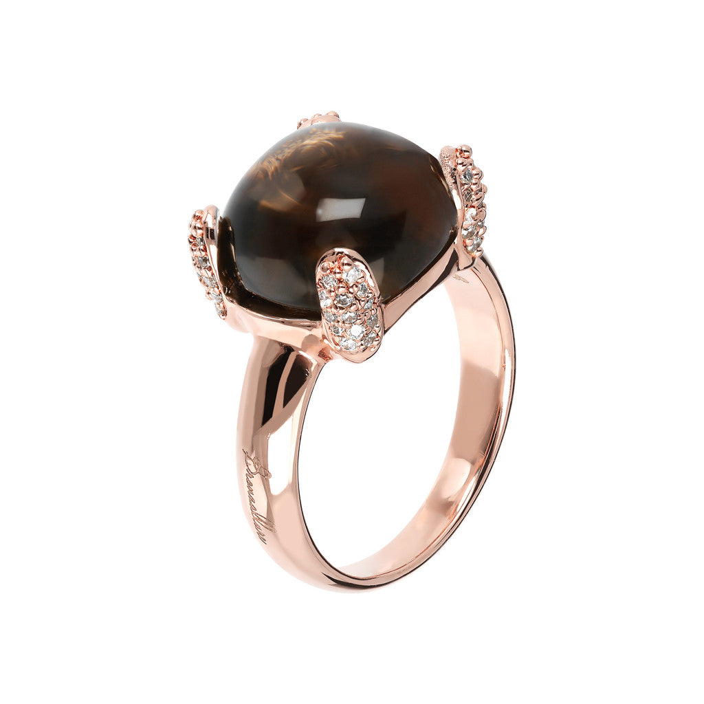 Pave cocktail ring SMOKY QUARTZ