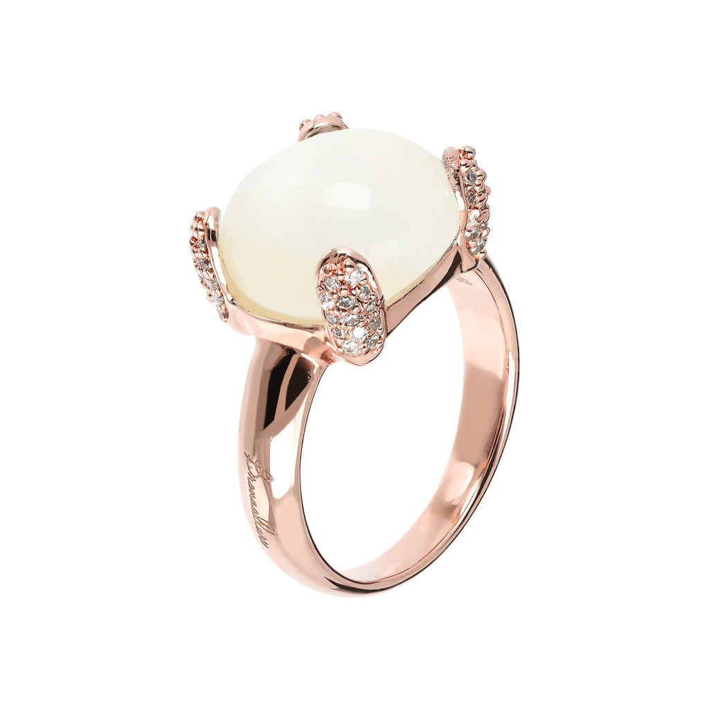 Pave cocktail ring WHITE CHALCEDONY