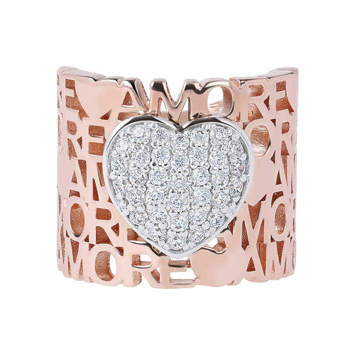Pave heart ring setting