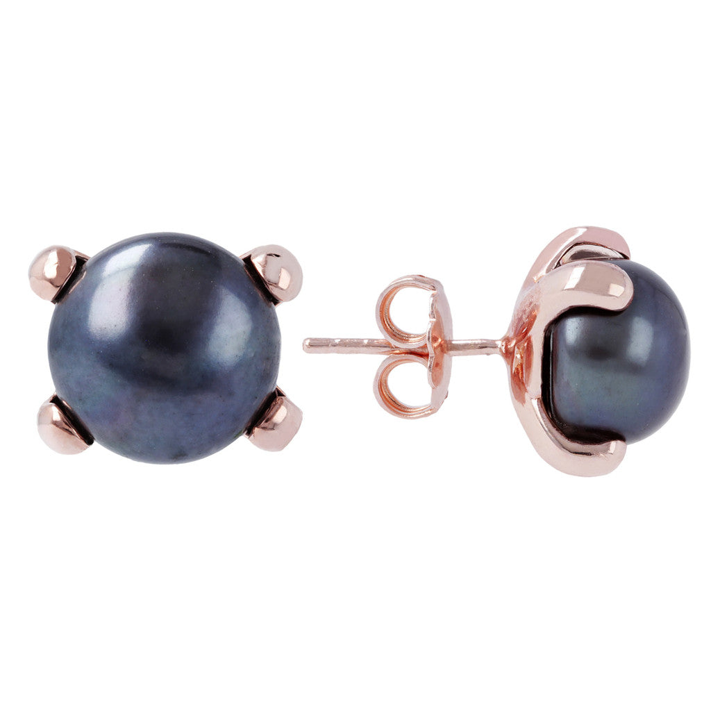 Button pearl earrings front and side