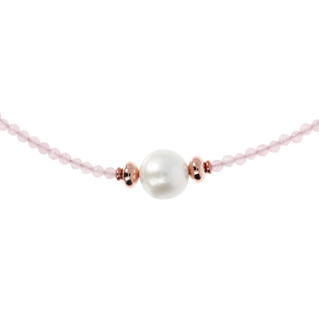Pearl and Gemstone Necklace PINK QUARTZITE from above