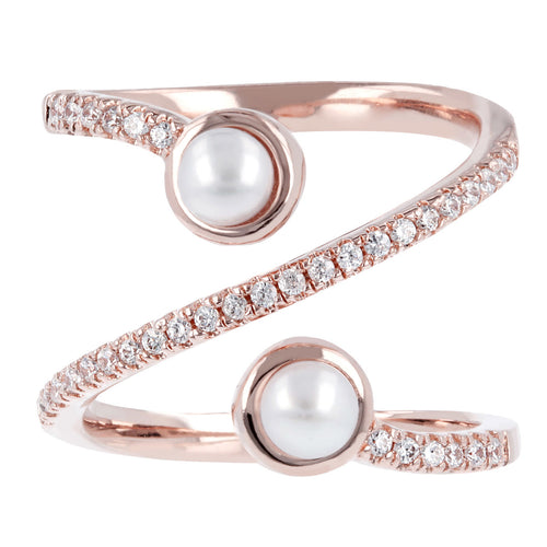 Pearl and cz ring setting