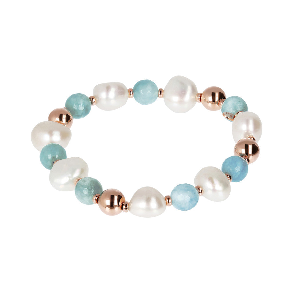 Pearls Gemstone and Golden Rosè Bracelet