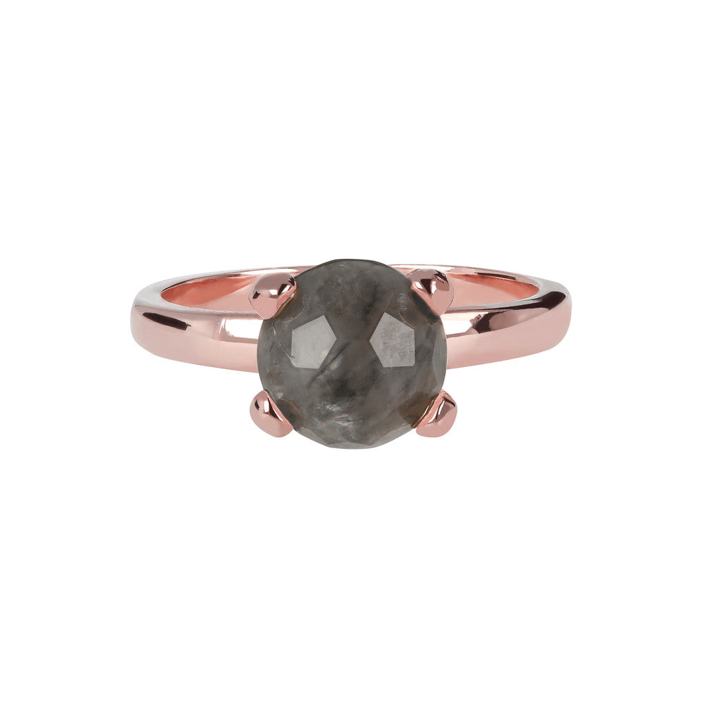 Petite Cockail Ring GREY QUARTZ setting