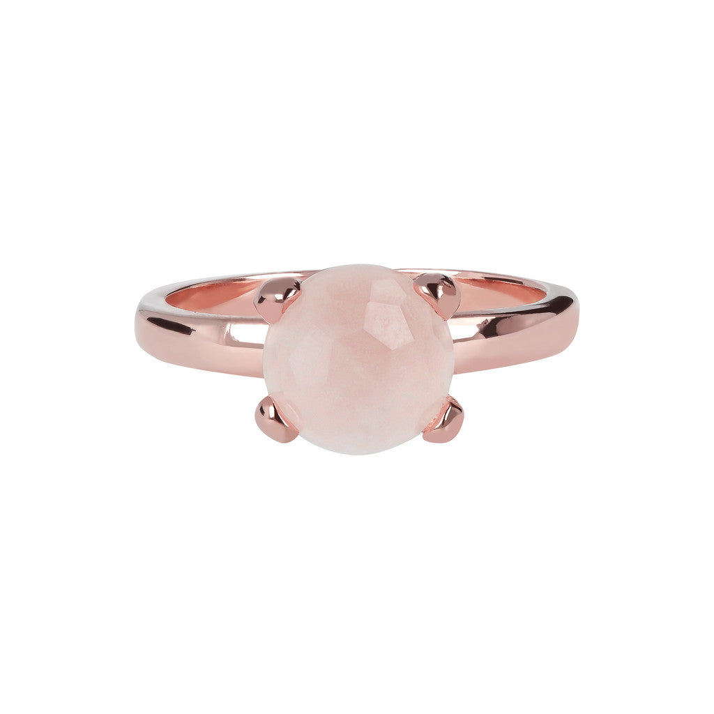 Petite Cockail Ring ROSE QUARTZ setting