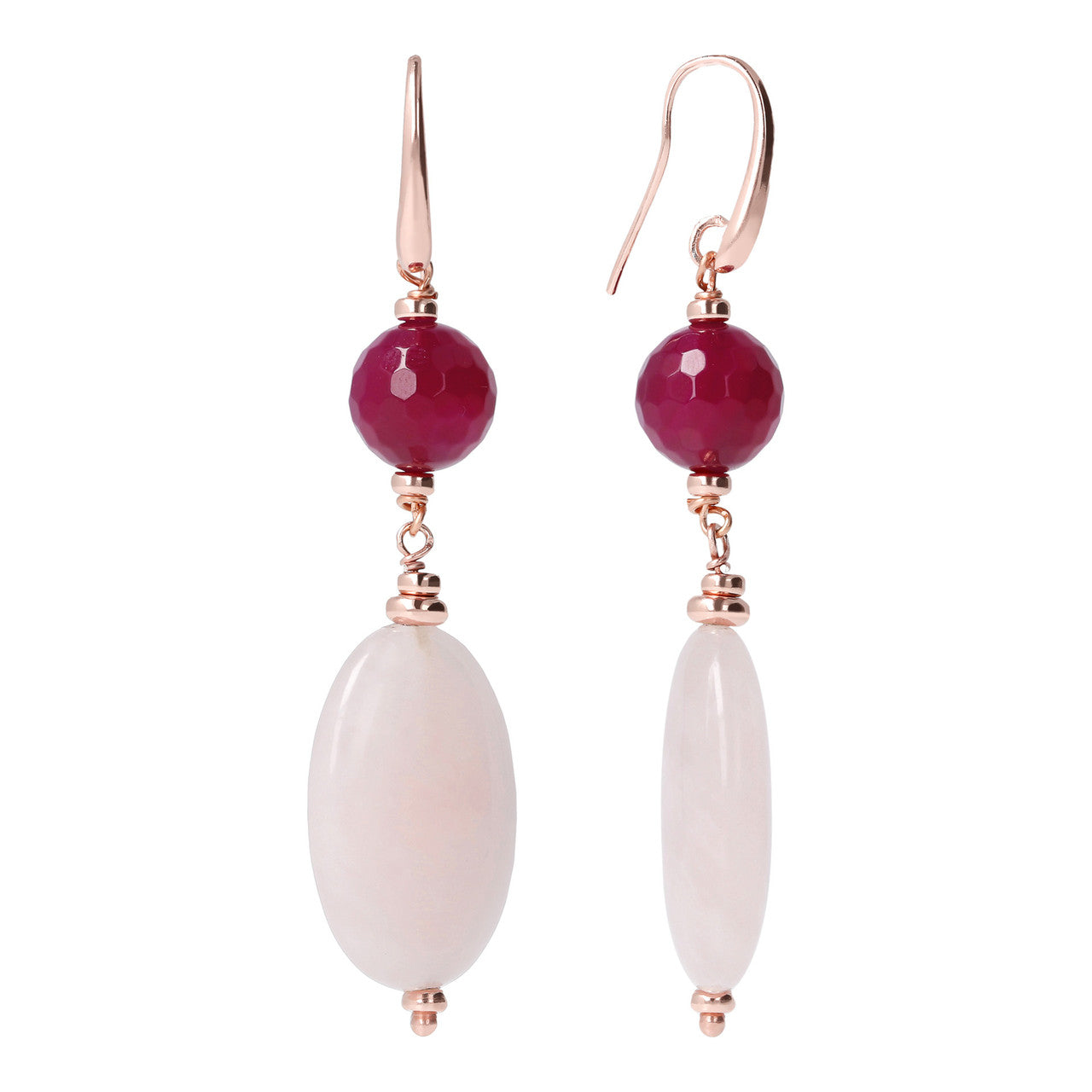 Pink Dangle Earrings with Gemstones front and side