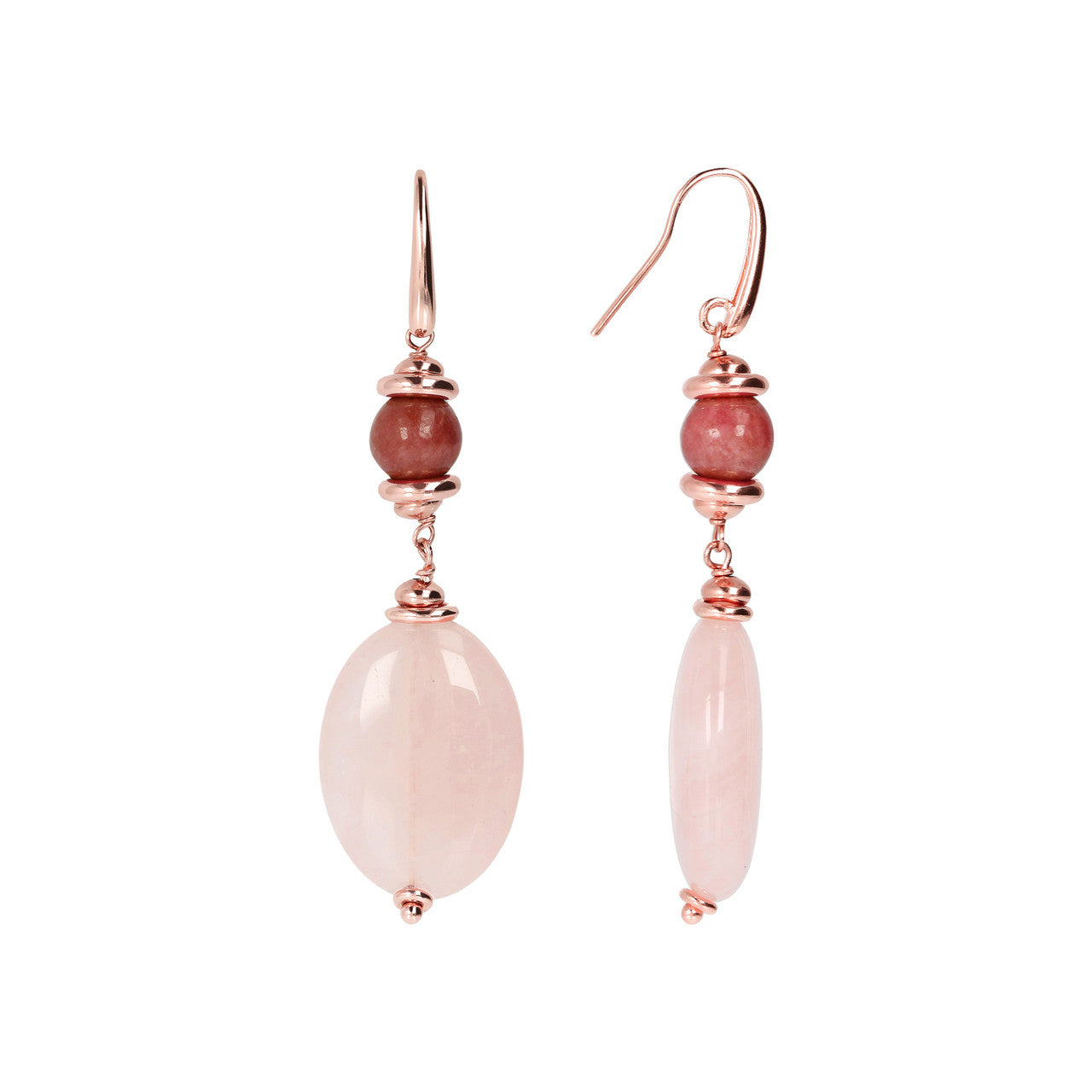 Pink Dangle Earrings with Gemstones