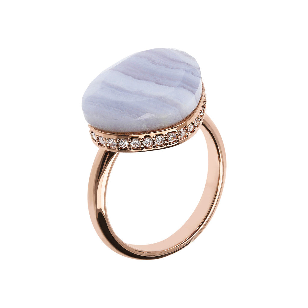 Preziosa Ring with Natural Stone BLUE LACE AGATE