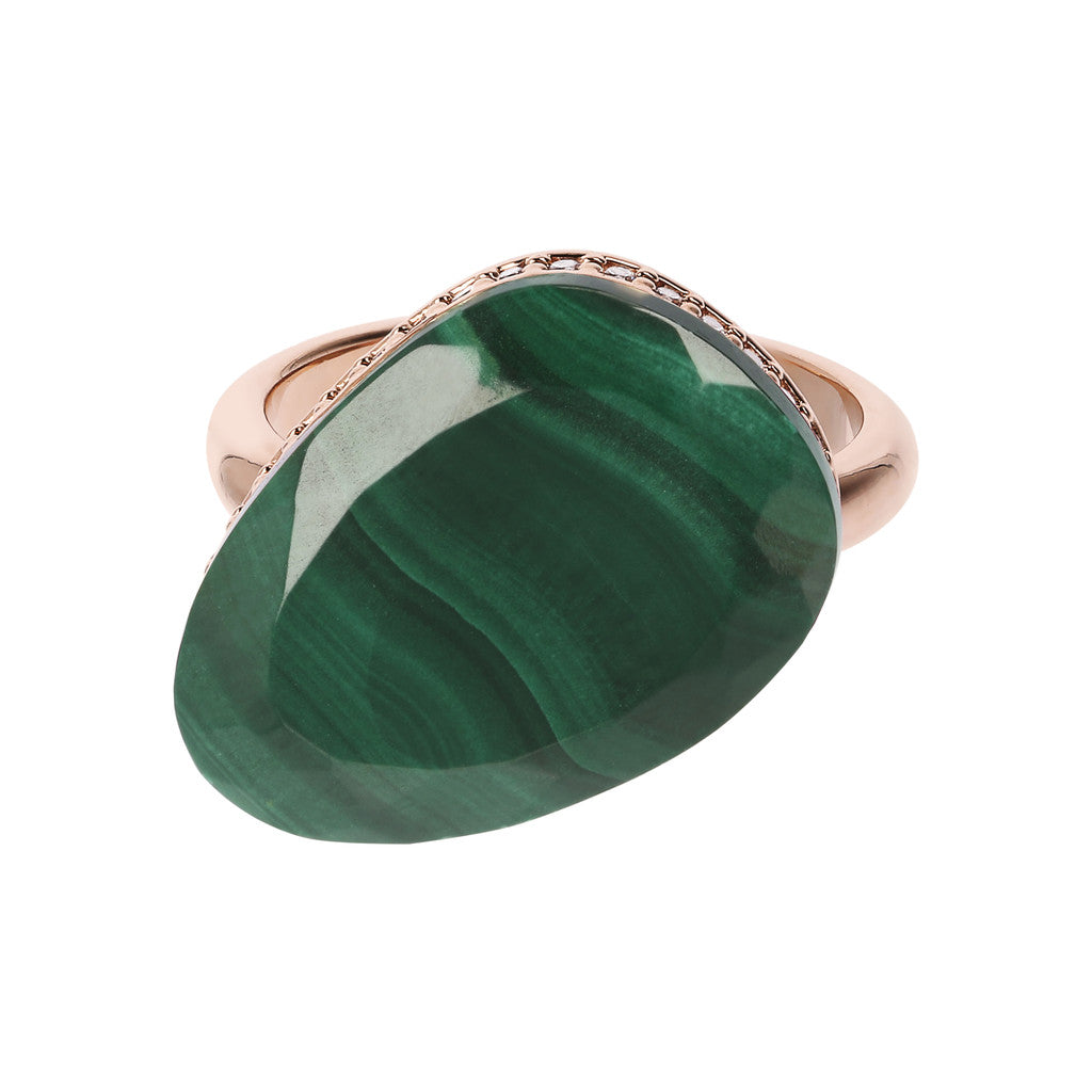 Preziosa Ring with Natural Stone MALACHITE setting