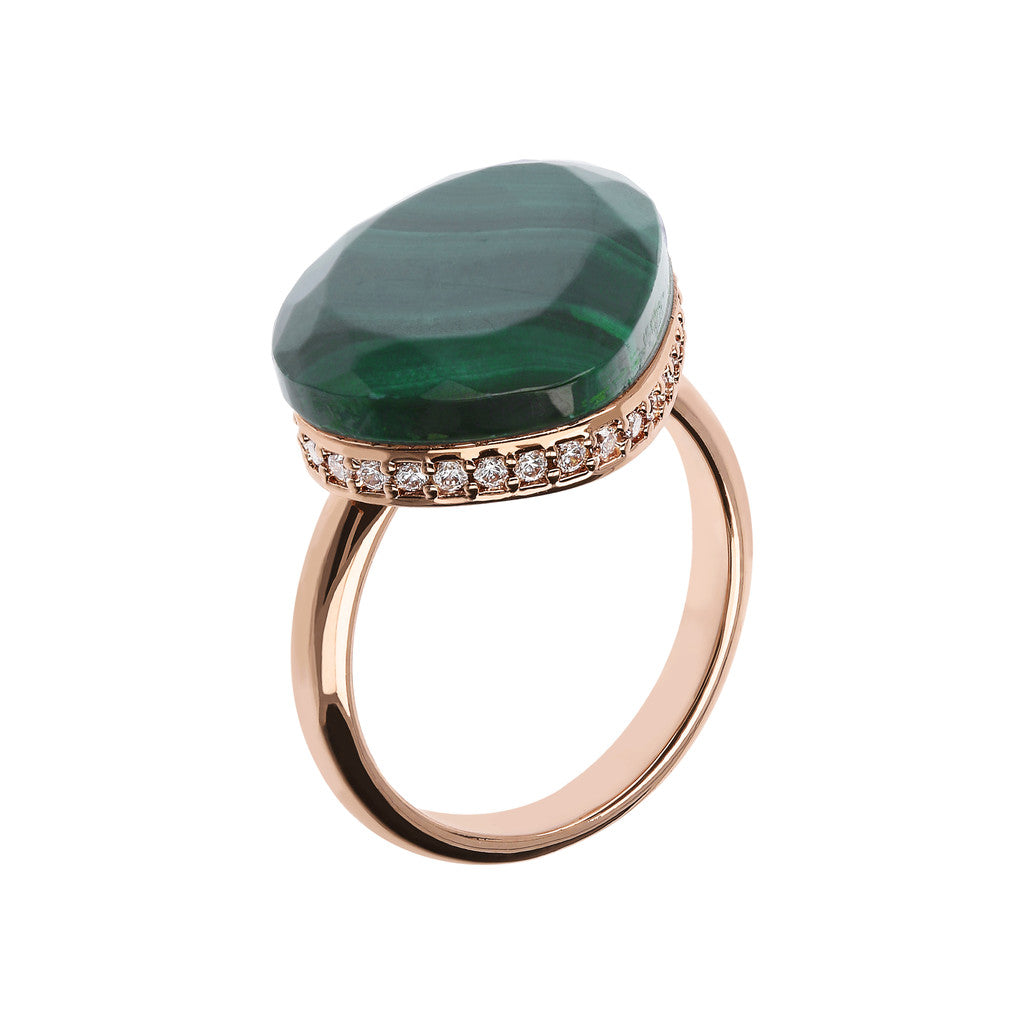 Preziosa Ring with Natural Stone MALACHITE