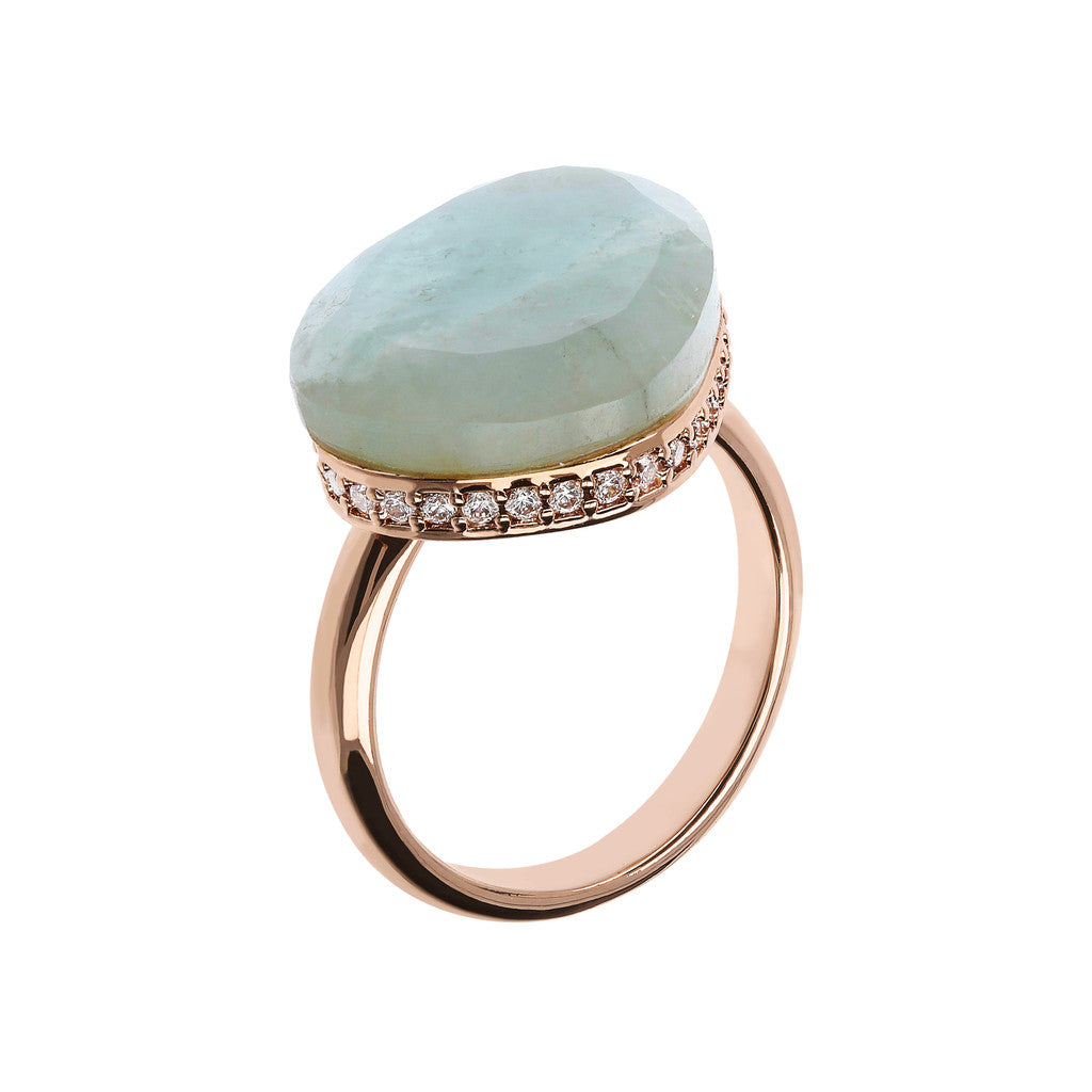 Preziosa Ring with Natural Stone MILKY AQUAMARINE