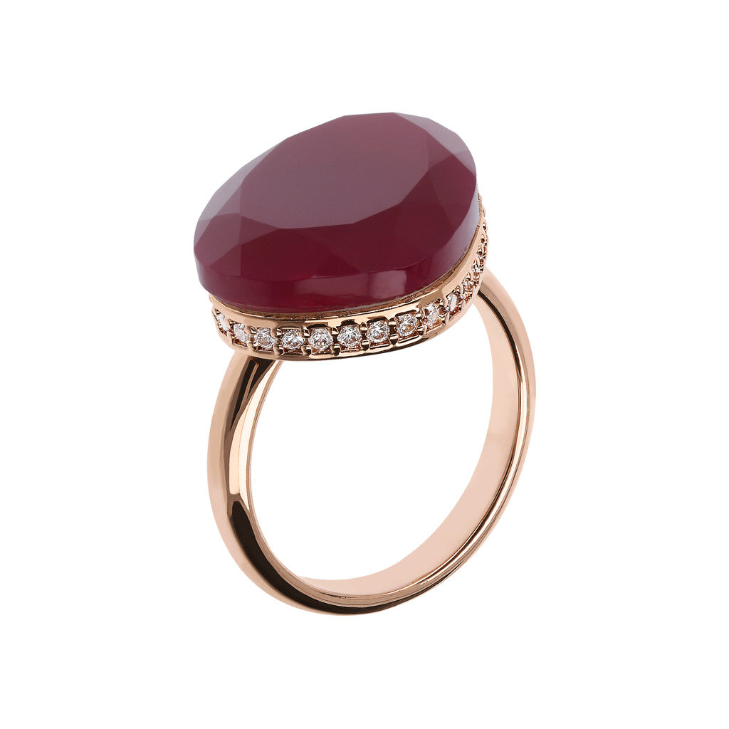 Preziosa Ring with Natural Stone PLUM AGATE