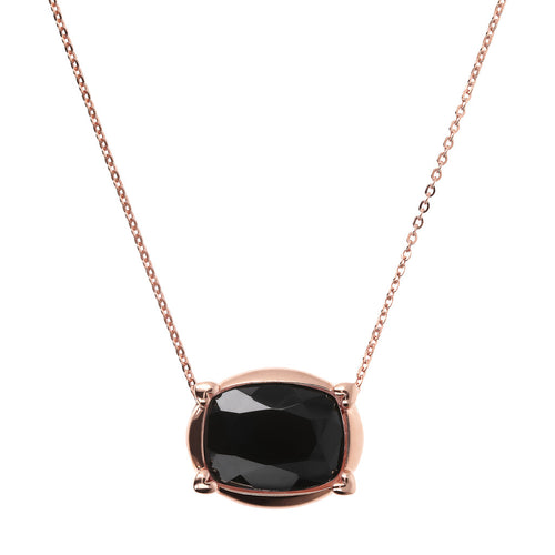 Bronzallure | Necklaces | Collier Necklace with Faceted Black Onyx Pendant