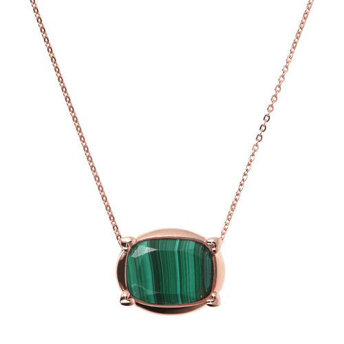 Bronzallure | Necklaces | Collier Necklace with Faceted Malachite Pendant