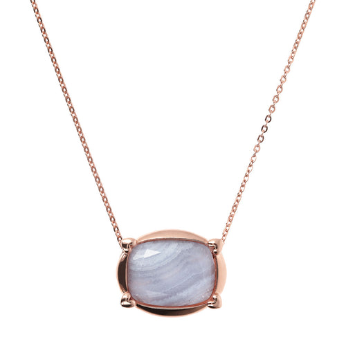 Bronzallure | Necklaces | Collier Necklace with Faceted Blue Lace Agate Pendant