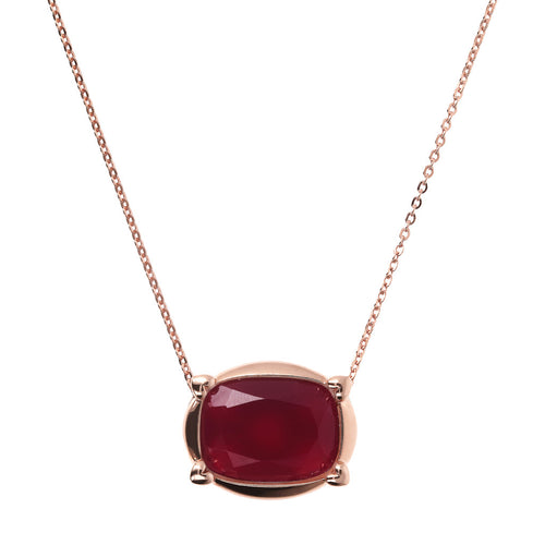 Bronzallure | Necklaces | Collier Necklace with Faceted Plum Agate Pendant