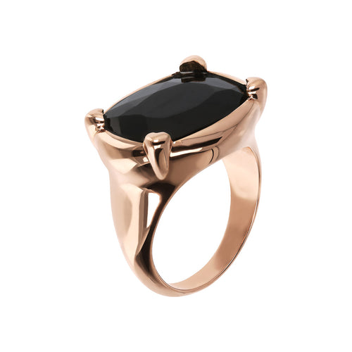 Bronzallure | Rings | Queen Ring in Golden Rosé with Black Onyx