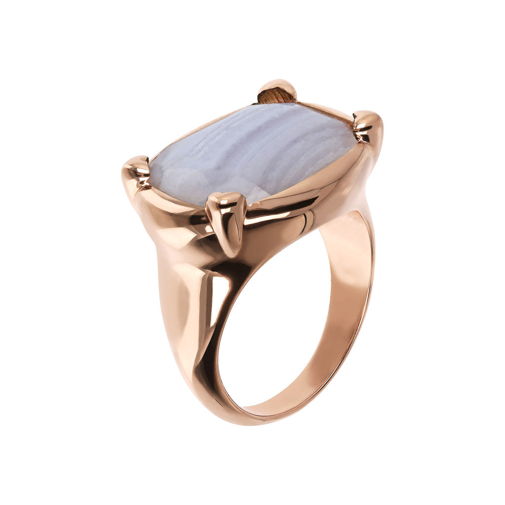 Bronzallure | Rings | Queen Ring in Golden Rosé with Blue Lace Agate