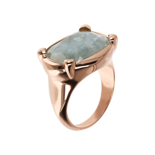 Bronzallure | Rings | Queen Ring in Golden Rosé with Milky Aquamarine
