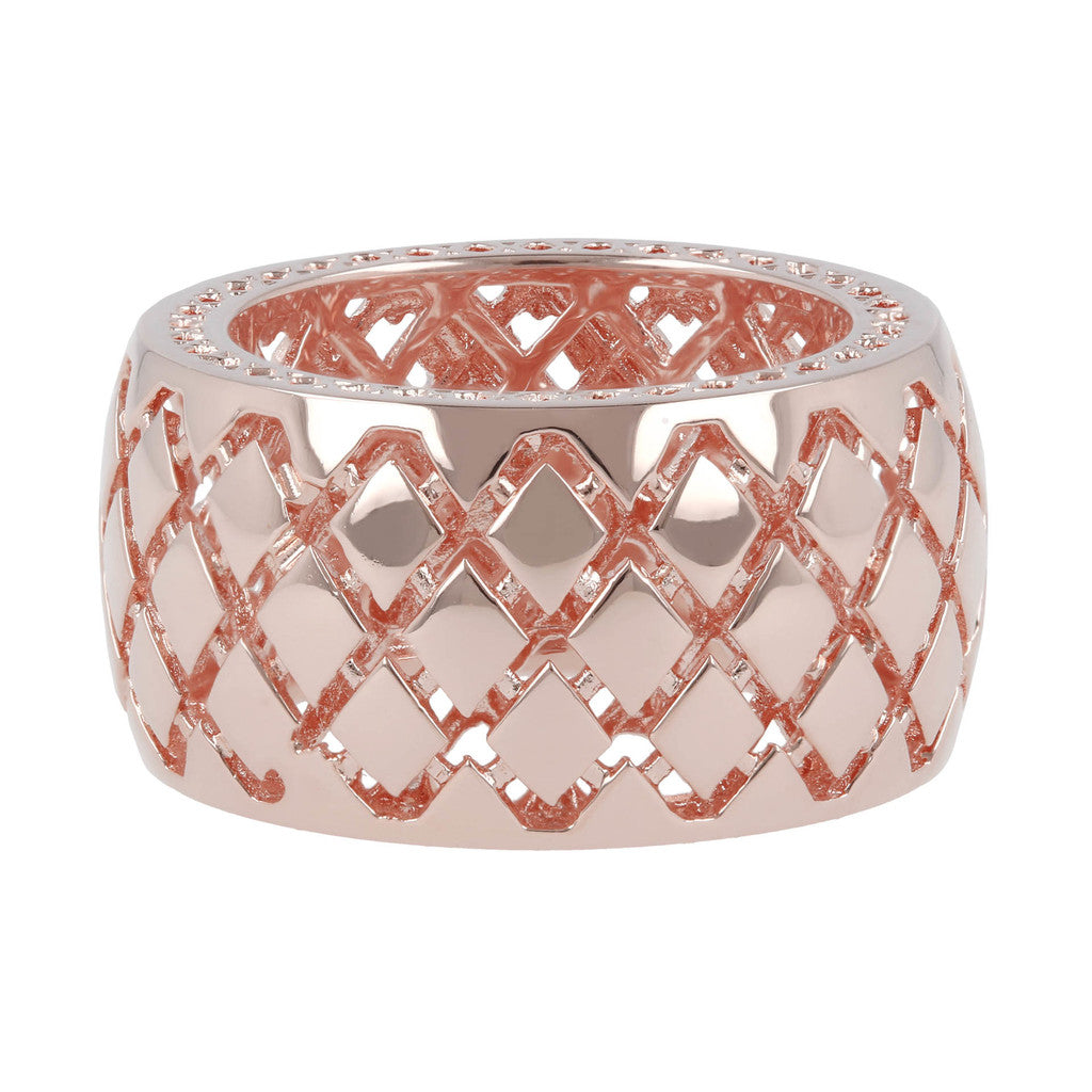 ROKOKO CHECKERED PATTERN BAND RING setting