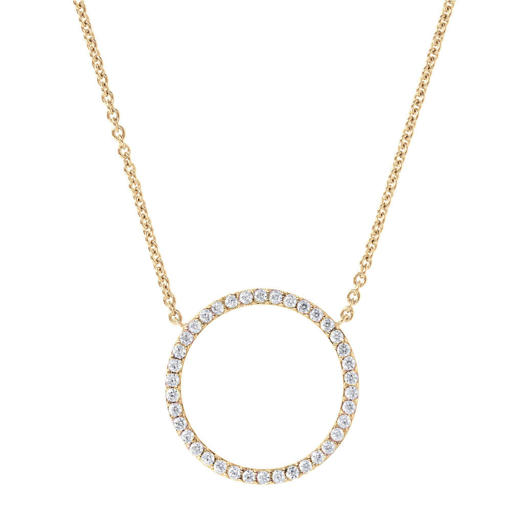 Choker with CZ Circle Yellow Gold
