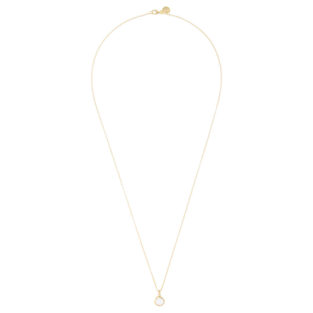 "INCANTO  BRONZALLURE GOLDEN 36"" nECKLACE W/ ROUND FACETED gemstone PENDANT - WSBZ00035Y from above"