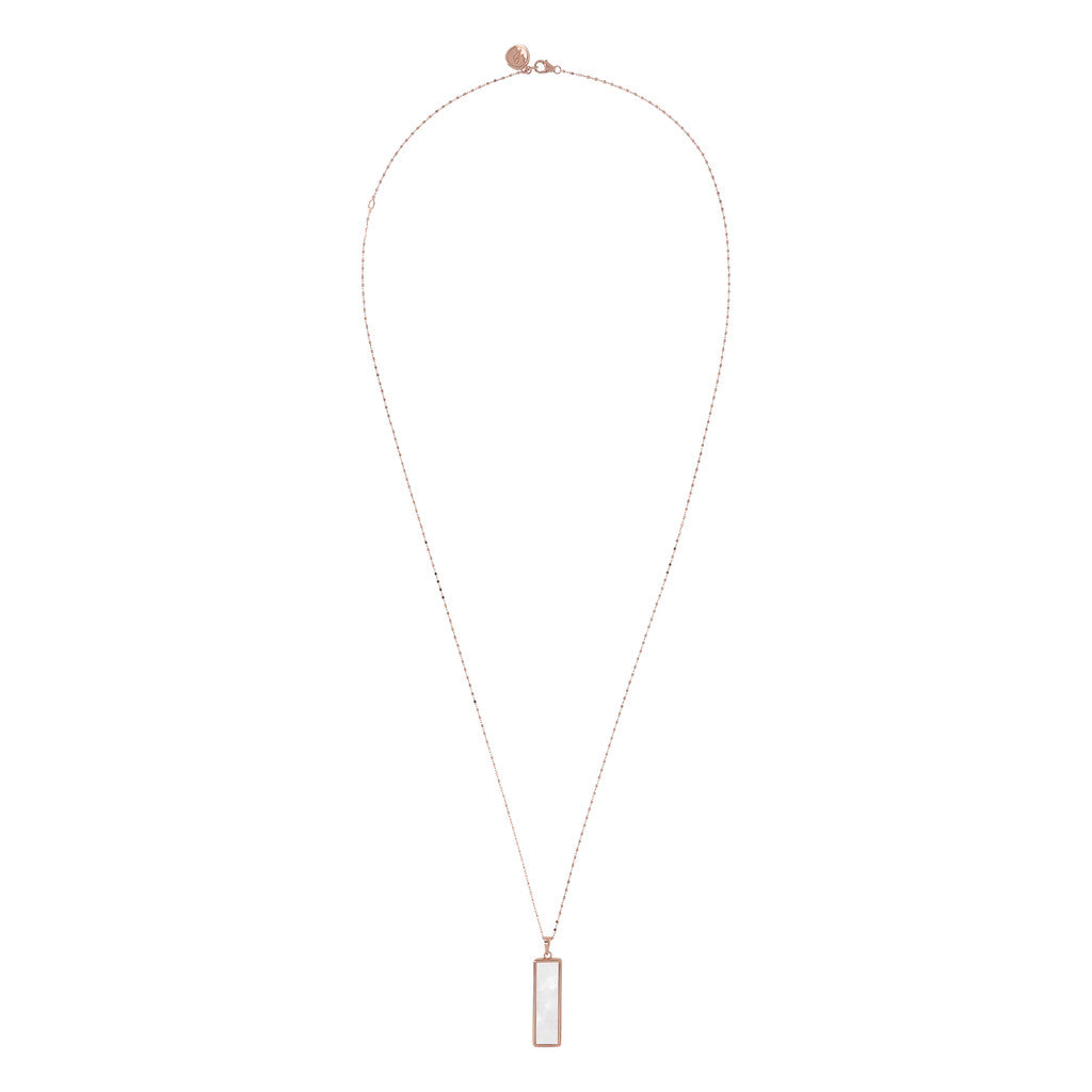 Rectangular Necklace WHITE MOP from above