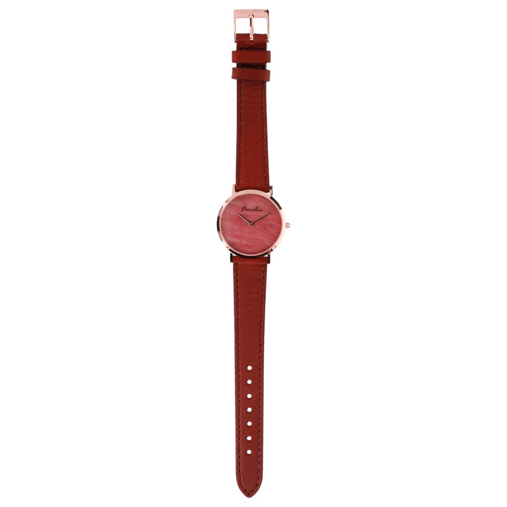 Regular Watch in Red Fossil Wood bracelet