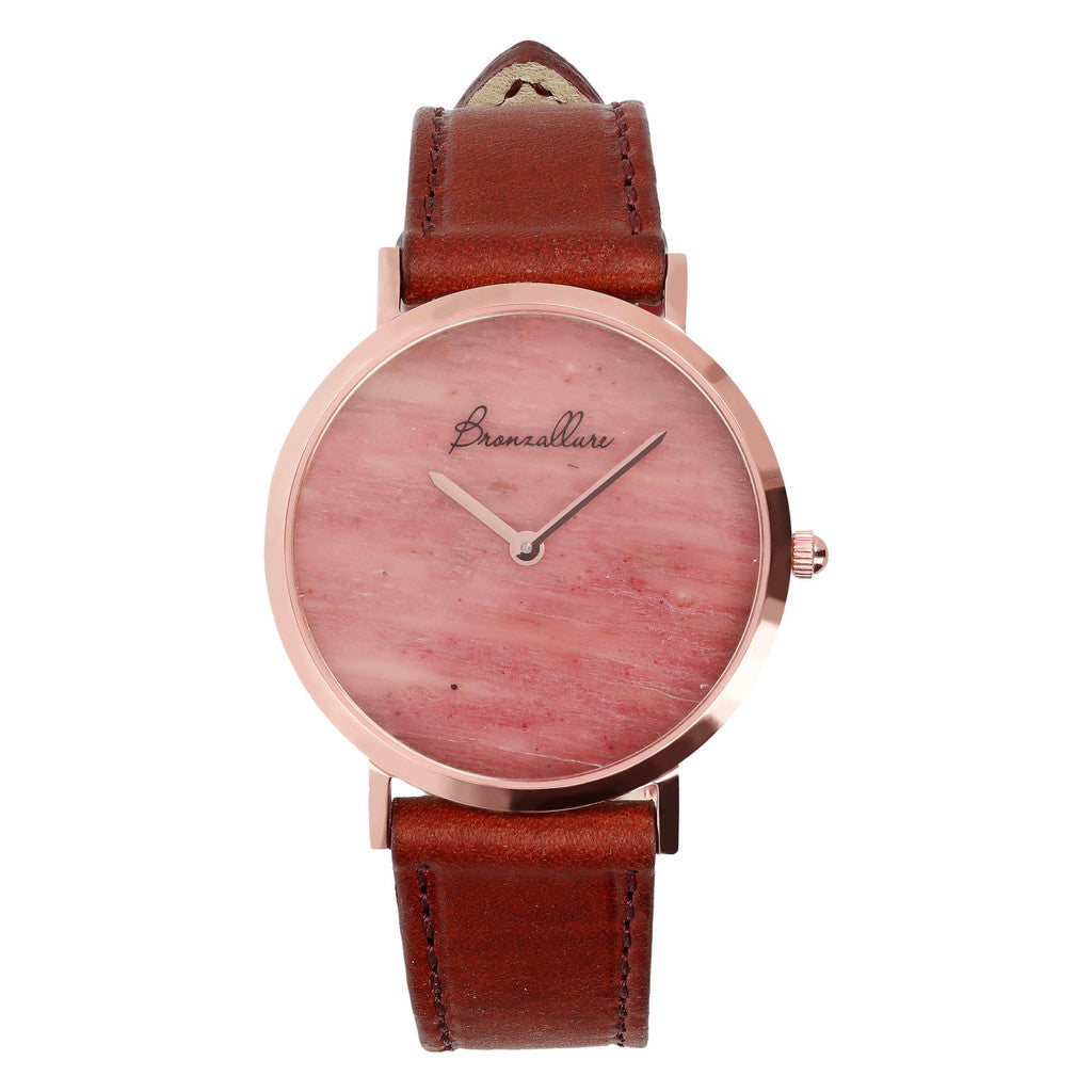 Regular Watch in Red Fossil Wood
