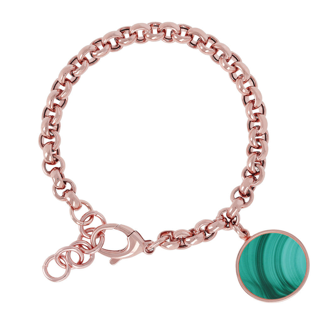 Rolo Bracelet with Gemstone MALACHITE