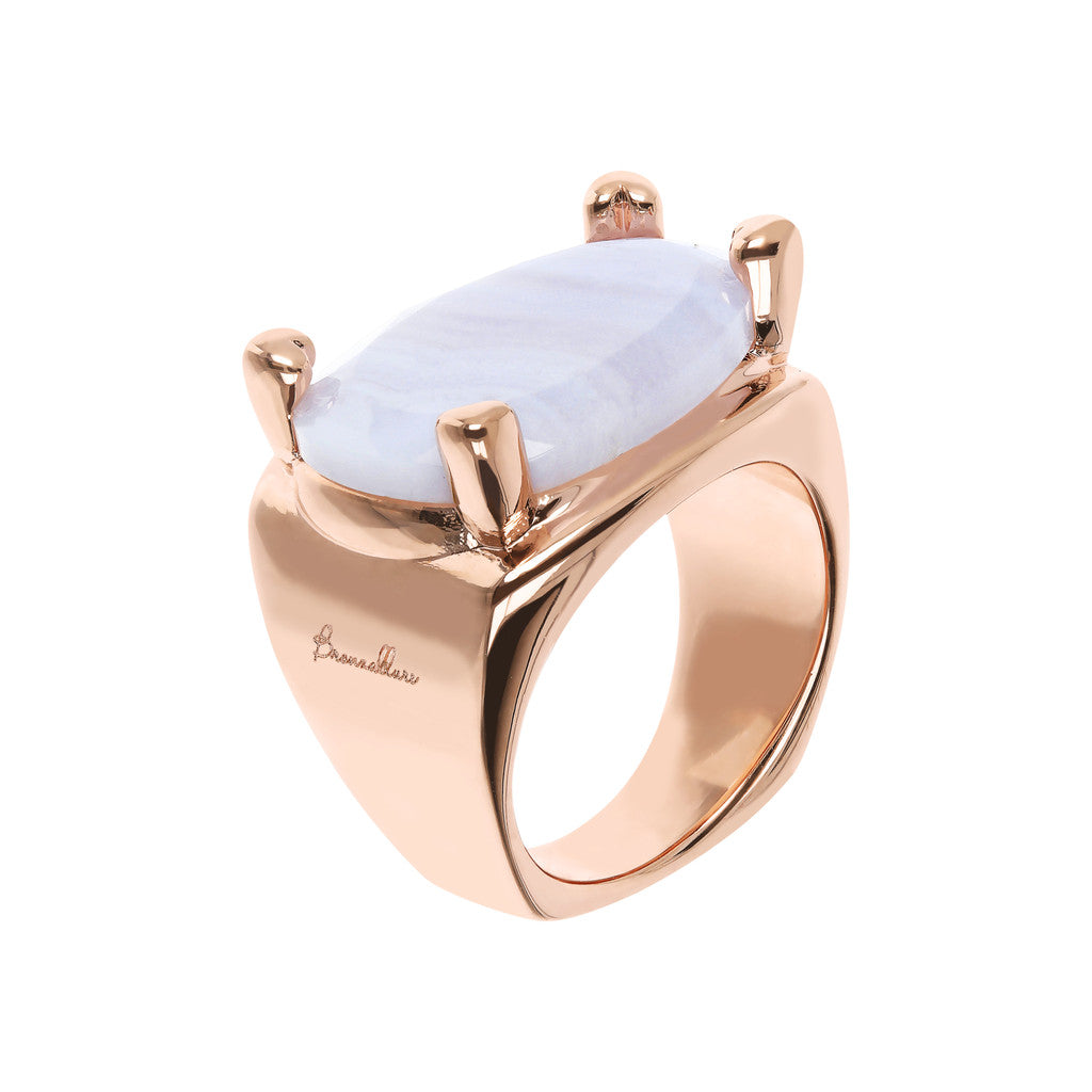 Bronzallure | Rings | Fancy Shape Chevalier Ring with Blue Lace Agate
