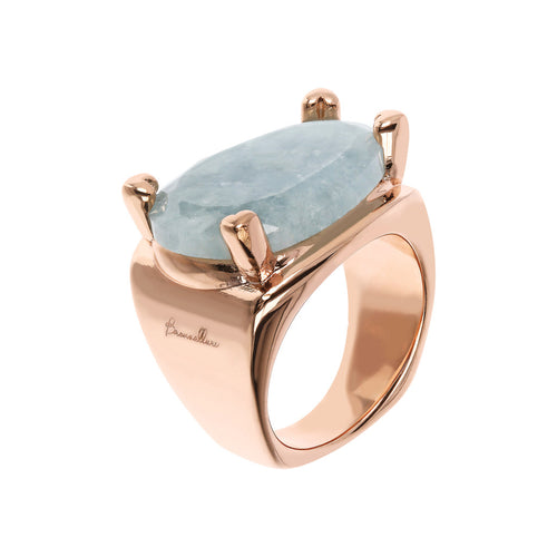 Bronzallure | Rings | Fancy Shape Chevalier Ring with Milky Aquamarine
