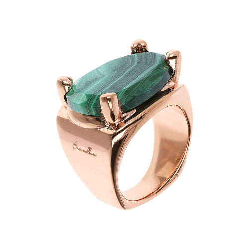 Bronzallure | Rings | Fancy Shape Chevalier Ring with Malachite