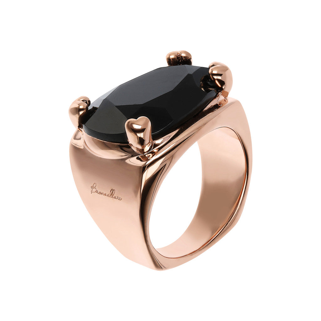 Bronzallure | Rings | Fancy Shape Chevalier Ring with Black Onyx