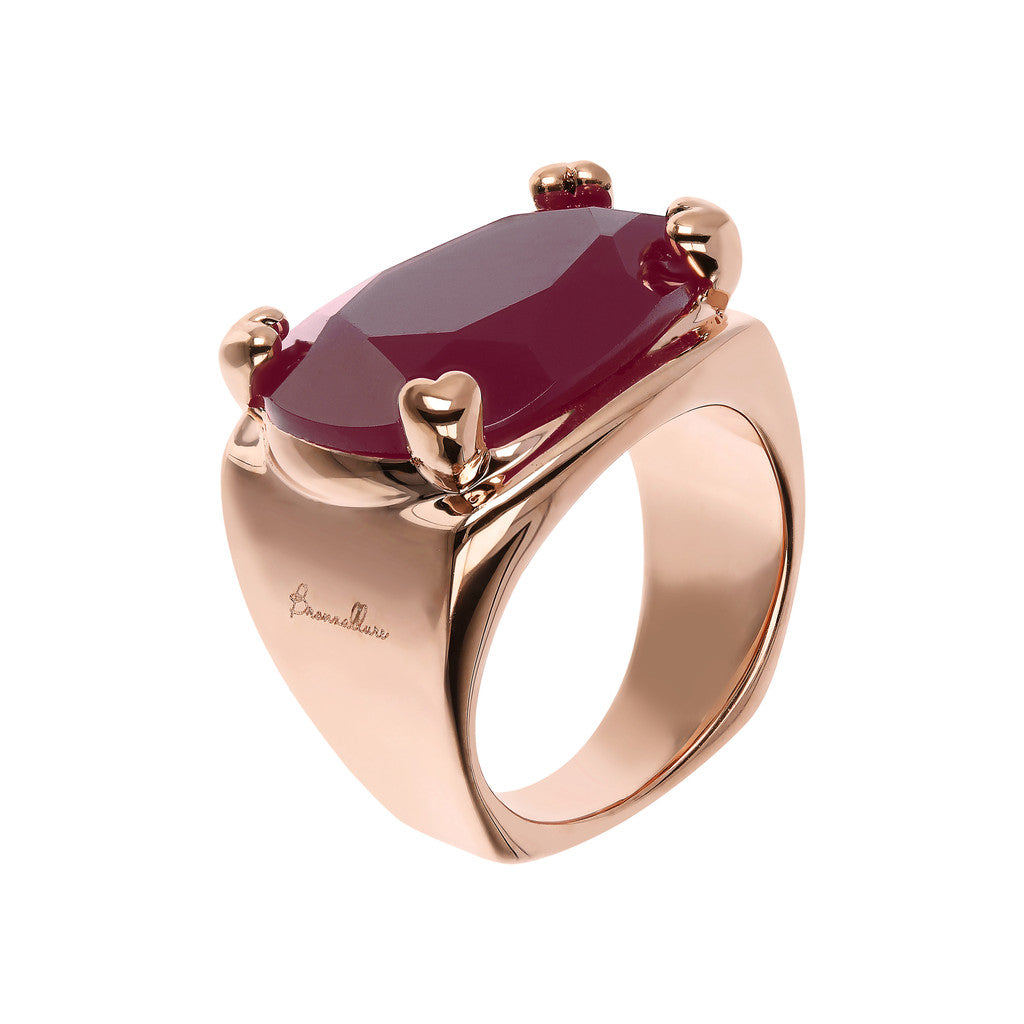 Bronzallure | Rings | Fancy Shape Chevalier Ring with Plum Agate