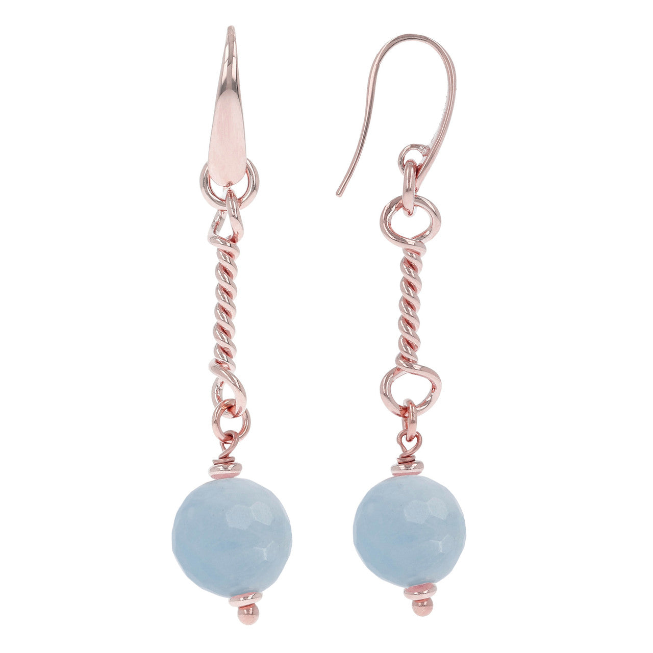 Romantic Wire Dangle Earrings MILKY AQUAMARINE front and side